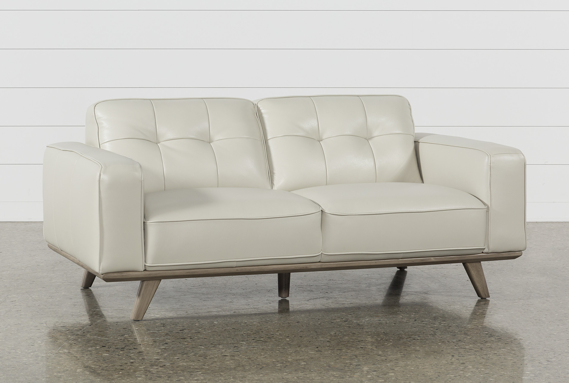 Caressa Leather Dove Grey Loveseat - 360