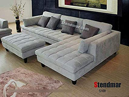 Amazon.com: 3pc New Modern Gray Microfiber Sectional Sofa S168RG