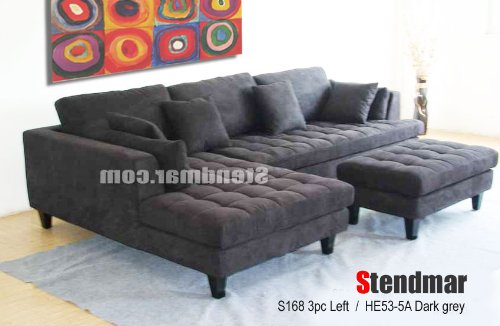 Amazon.com: 3pc Contemporary Dark Grey Microfiber Sectional Sofa Set