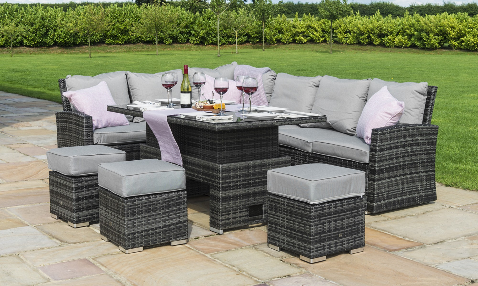 MauritiusCorner Dining with Rising Table Grey Rattan Garden Set