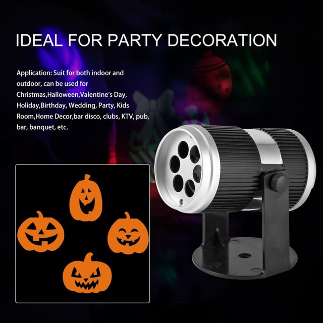 4W LED Halloween Projector Light Bulb Voice Control Speed control