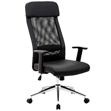 KADIRYA Extra High Back Mesh Office Chair Computer Desk Task Chair with  Padded Leather Removeable Headrest