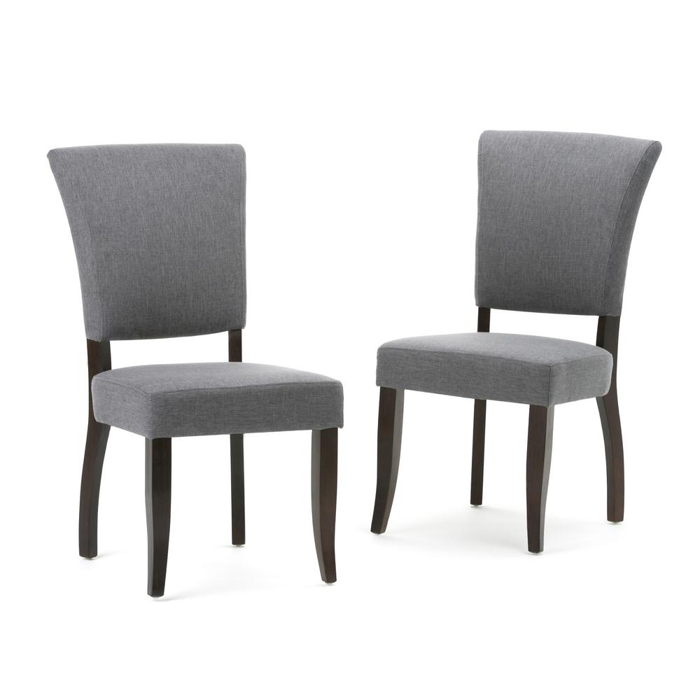 Joseph Contemporary Deluxe Dining Chair (Set of 2) in Slate Grey Linen Look  Fabric