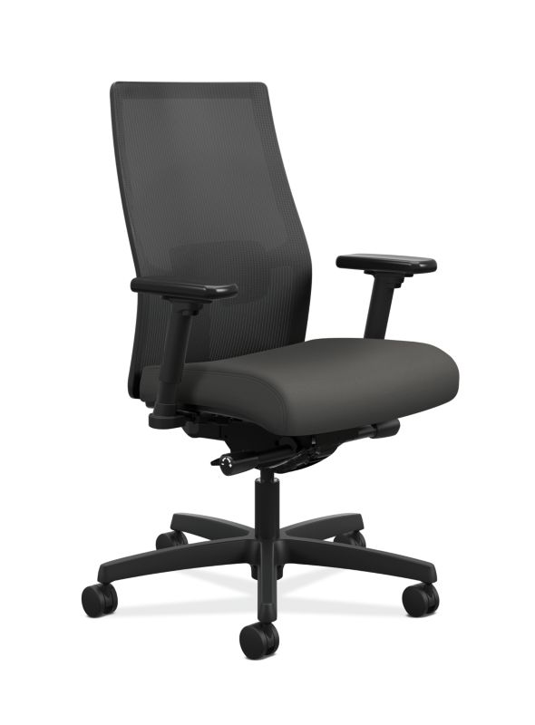 HON Ignition Mid-Back Task Chair Centurion Iron Ore Color Adjustable Arms  Front Side View