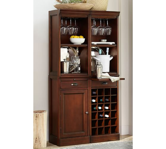 Modular Bar System with 2 Standard Hutches, 1 Cabinet Base, and 1 Wine Grid