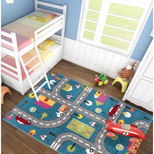 Howton Kids Play Cars Design Blue/Gray Area Rug