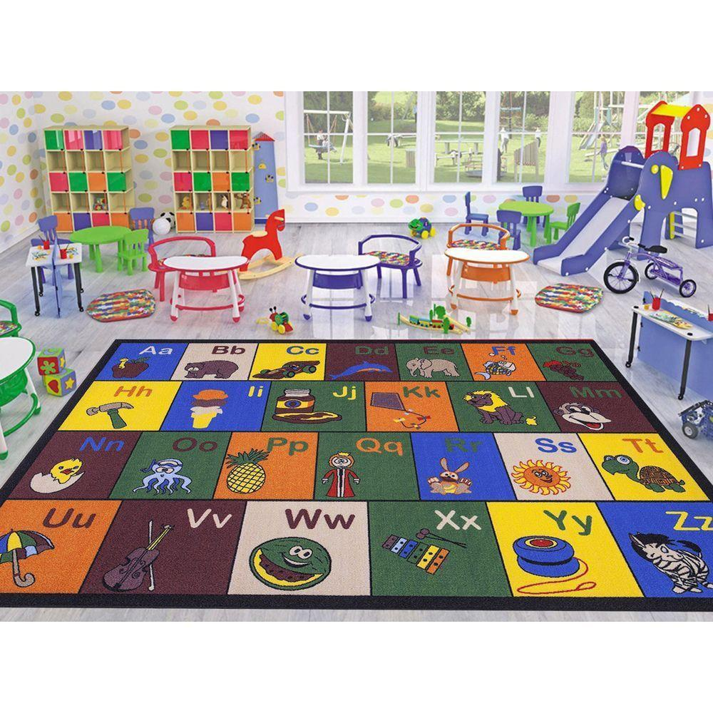 Ottomanson Jenny Collection Multi Alphabet Design 5 ft. x 7 ft. Non-Slip Kids  Area Rug-JNA370019-5X7 - The Home Depot