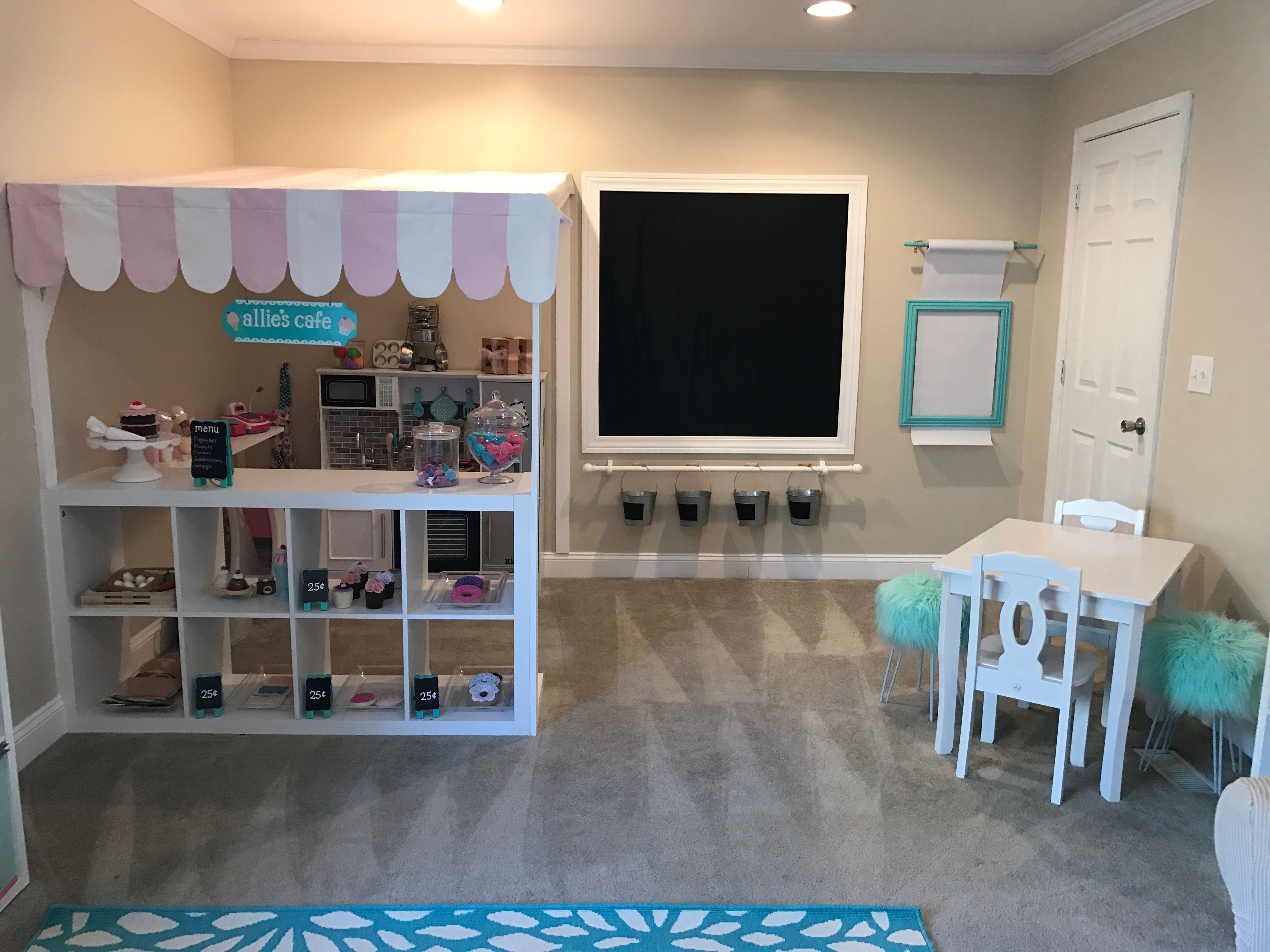 Playroom Ideas. Kids cafe. Kids kitchen play area. Kids art area. Chalkboard
