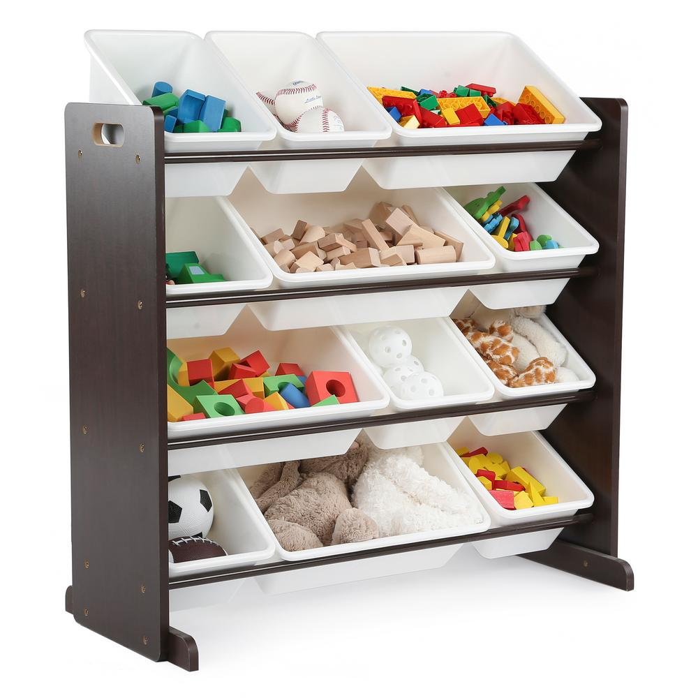12 Bin Deluxe Toy Storage Organizer in Espresso & White