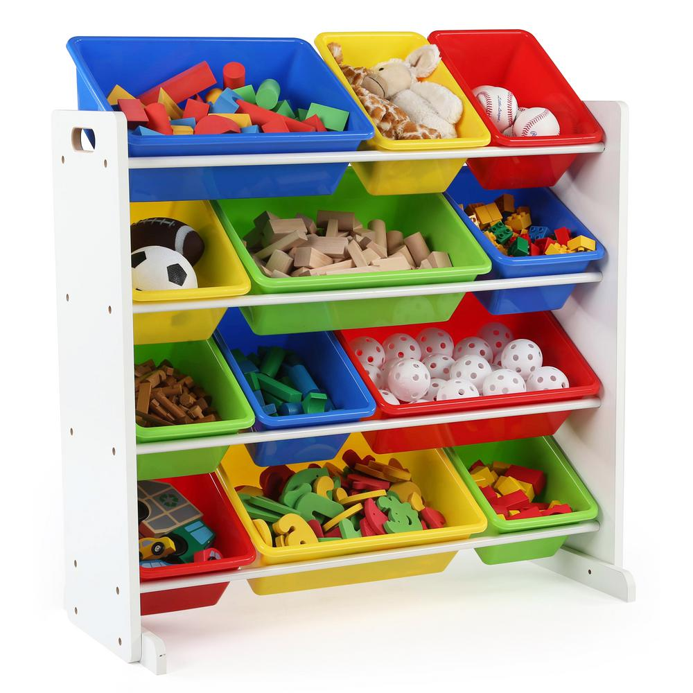 Tot Tutors Summit Collection White Primary Kids Toy Storage Organizer with  12 Plastic Bins-WO314 - The Home Depot