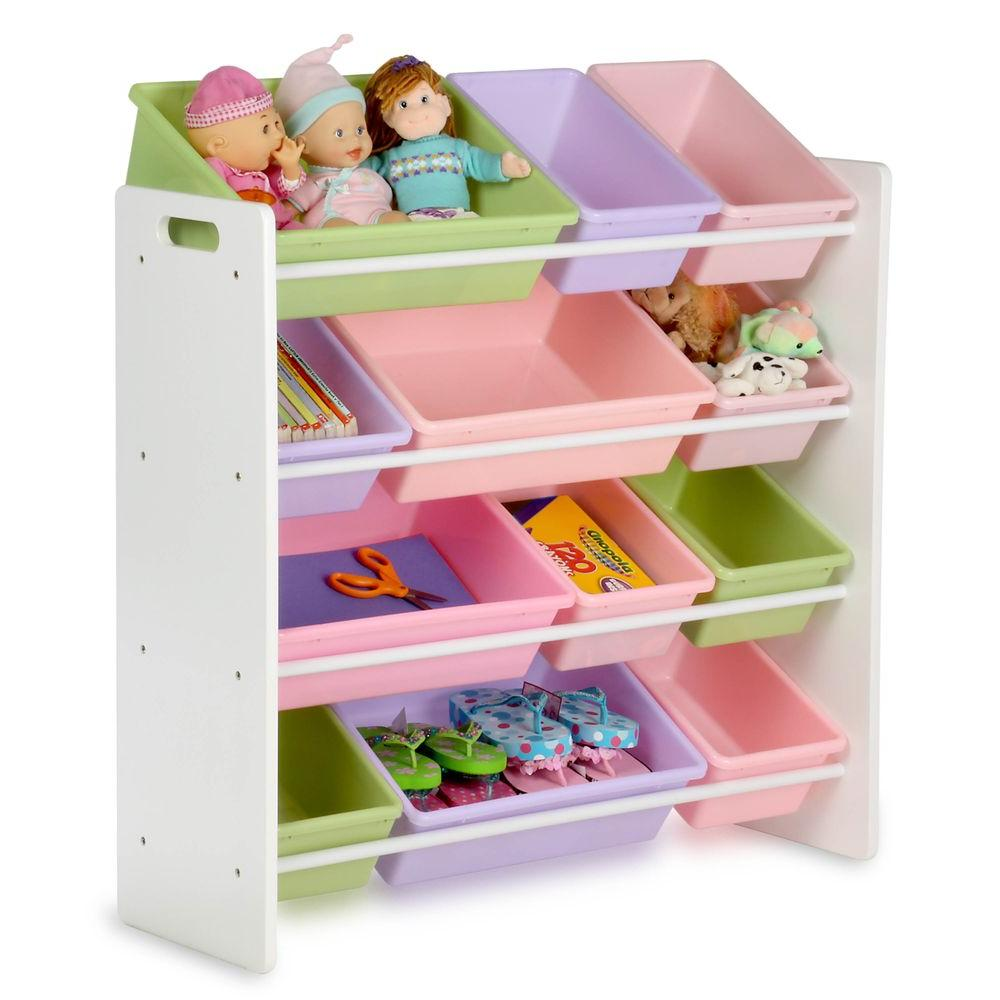 Kids Toy Storage Organizer with Bins, White/Pastel
