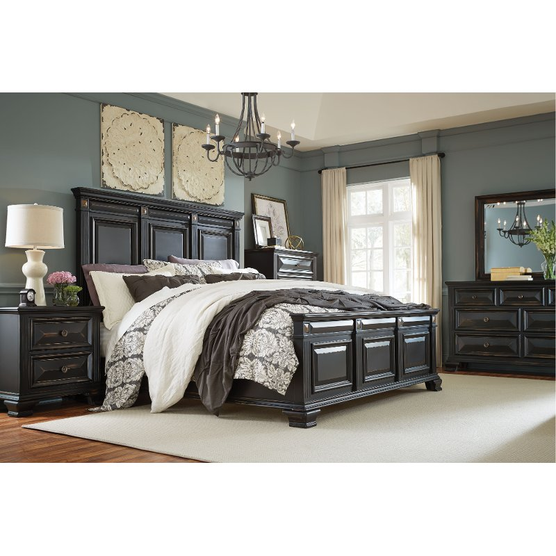 Black Traditional 4 Piece King Bedroom Set - Passages   RC Willey Furniture  Store