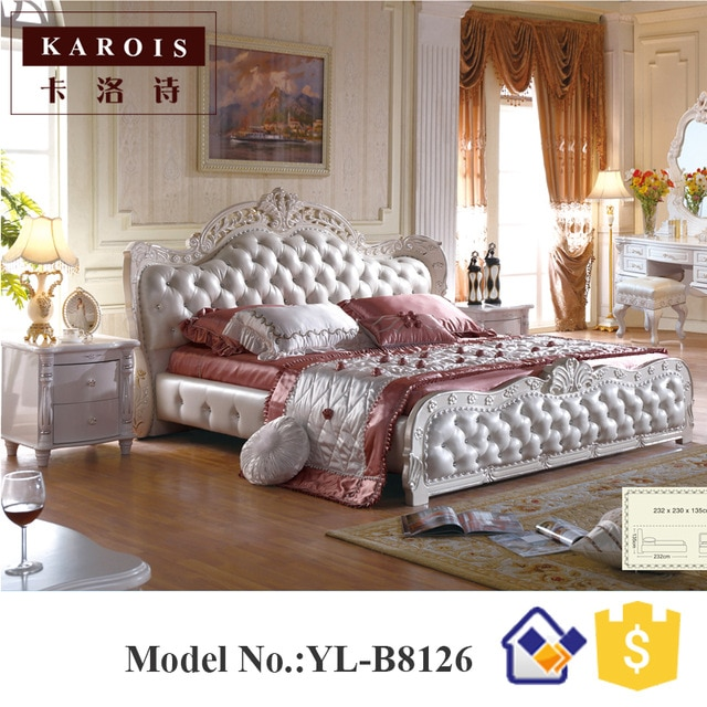 Purple diamond bedroom furniture Antique king size bed design B8126
