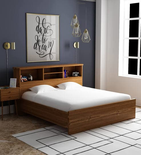 Buy Kimura King Size Bed in Teak Finish by Mintwud Online - Modern King  Sized Beds - Beds - Furniture - Pepperfry Product