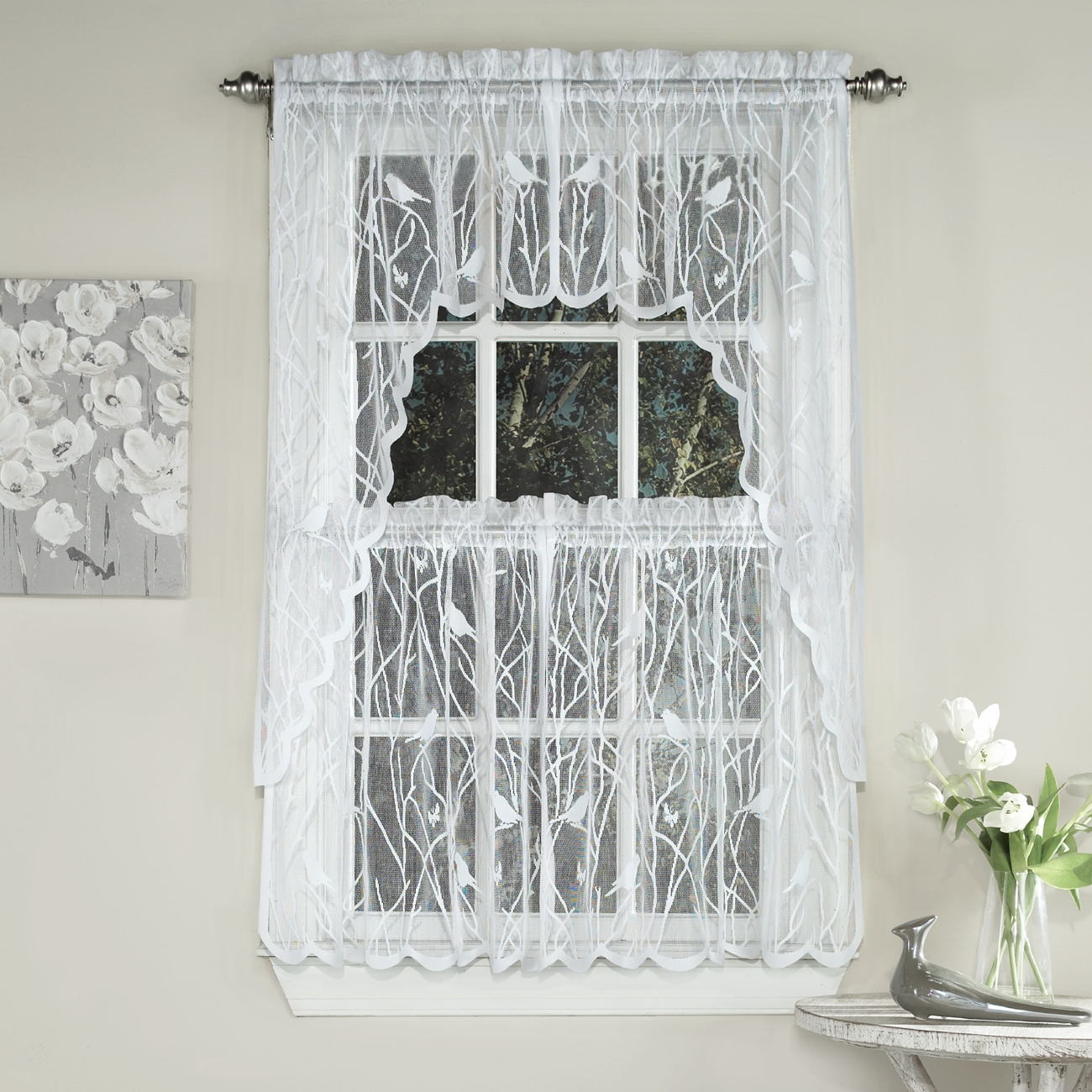 Songbird Sheer Kitchen Curtains. Zoom