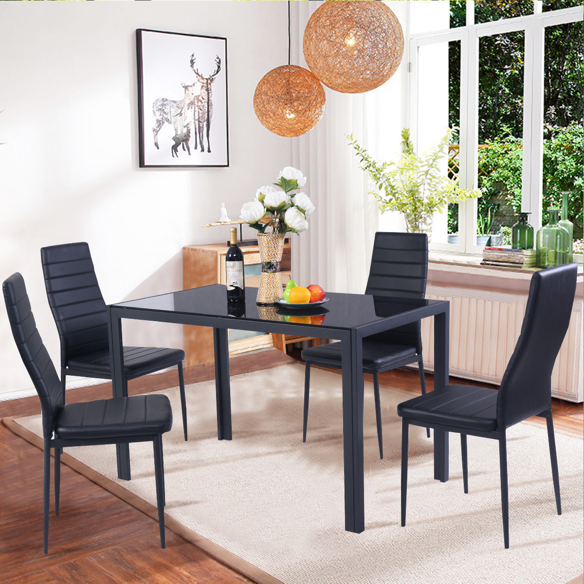 Costway 5 Piece Kitchen Dining Set Glass Metal Table and 4 Chairs Breakfast  Furniture - Traveller Location