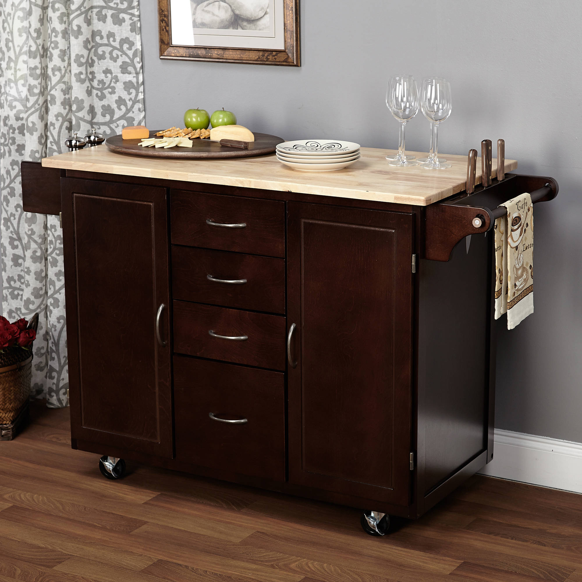 eHemco Kitchen Island Cart Natural Butcher Block Bamboo Top with White Base  - Traveller Location