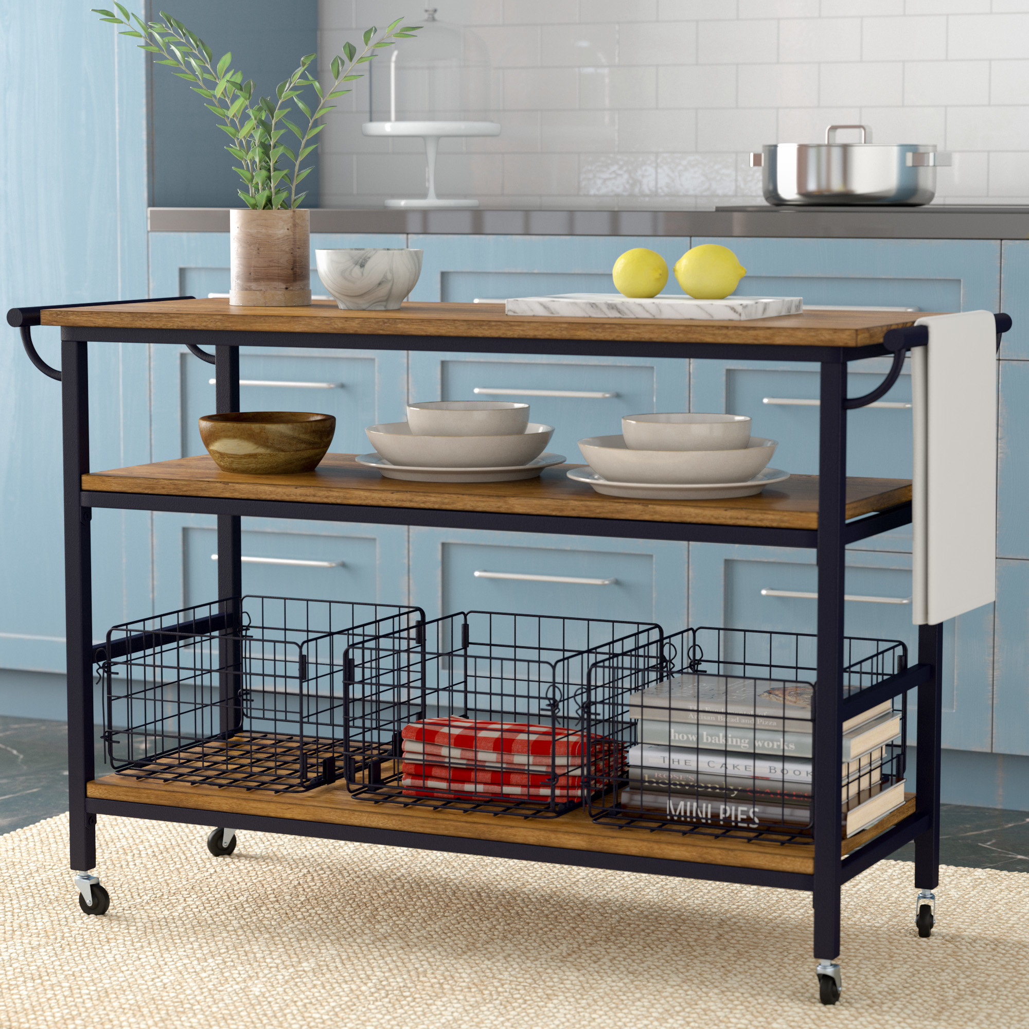 Laurel Foundry Modern Farmhouse Fresnay Kitchen Island with Wooden Top &  Reviews | Wayfair