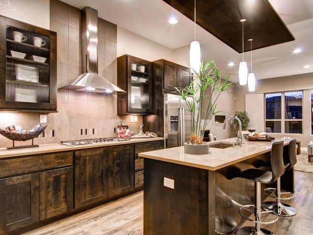 Kitchen With Rustic Wood Cabinetry