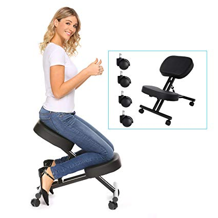 Traveller Location: Kindsells Ergonomic Kneeling Chair,Adjustable Stool for Home  and Office - Improve Your Posture & Back Pain with an Angled Seat - Thick