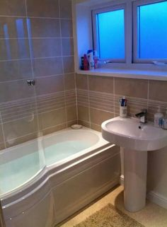 P shaped bath in our small bathroom Small Bathroom With Bath, Small Bathroom  Layout,