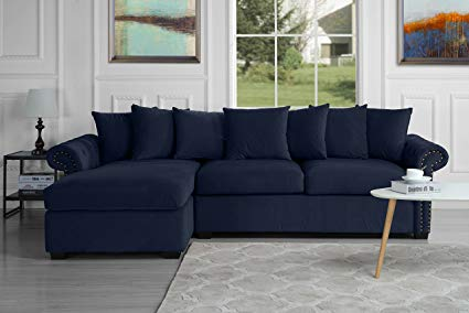 Modern Large Tufted Velvet Sectional Sofa, Scroll Arm L-Shape Couch (Navy  Blue