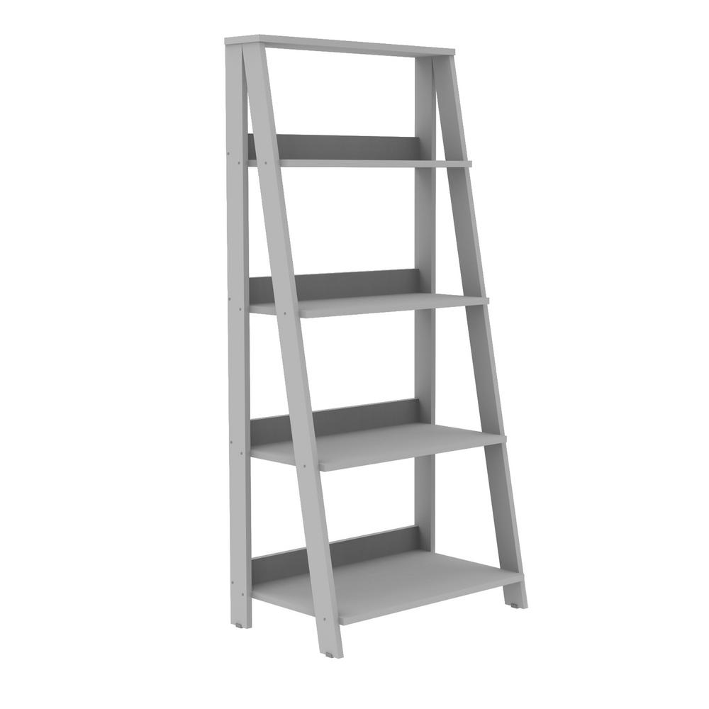 Walker Edison Furniture Company 55 in. Wood Ladder Bookshelf -  Grey-HDS55LDGY - The Home Depot