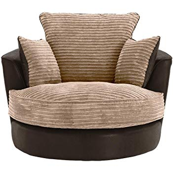 Large Swivel Round Cuddle Chair Fabric Corduroy Chenille Leather Designer  Scatter Cushions (Brown)