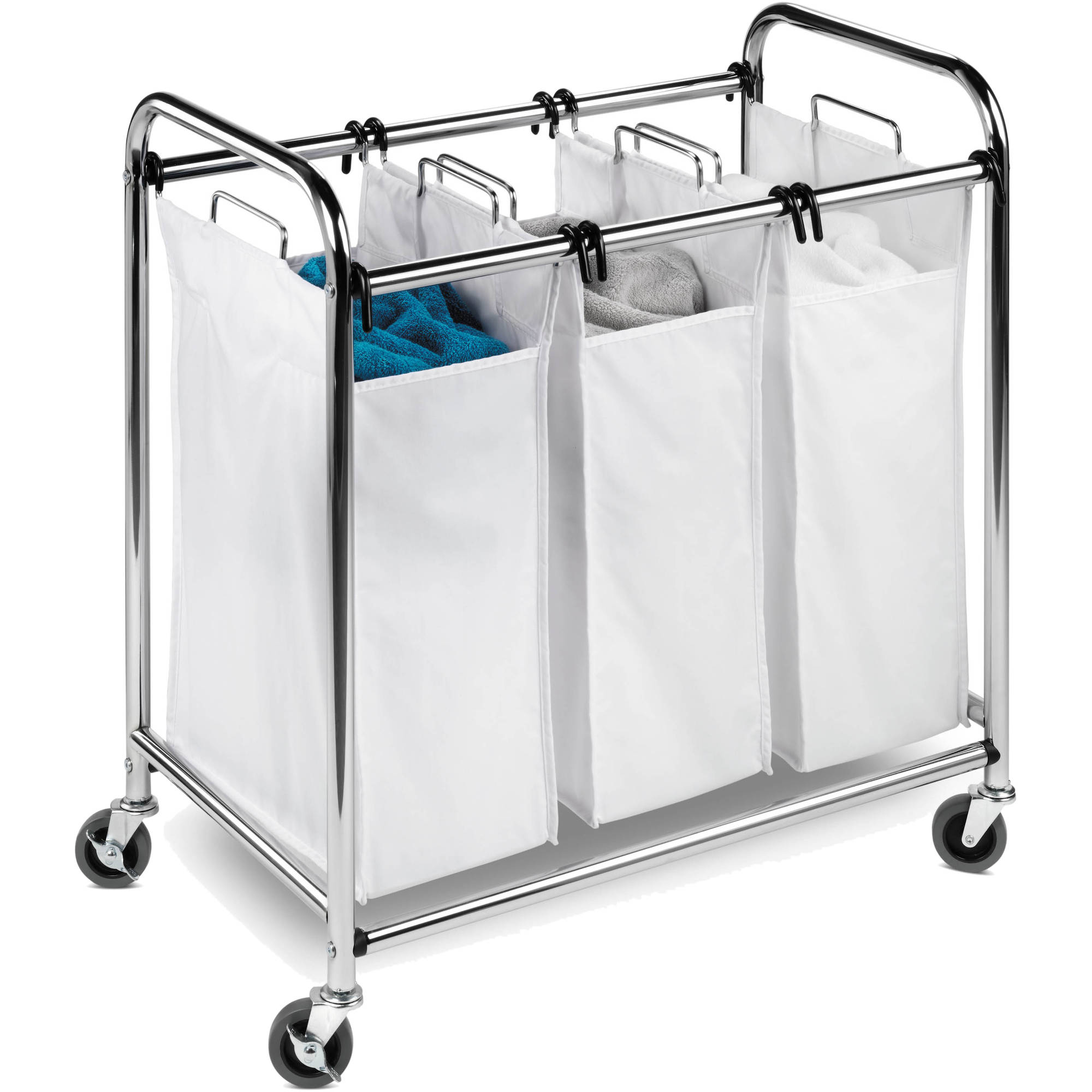 Honey Can Do Commercial-Grade Triple Laundry Sorter, Chrome/White -  Traveller Location