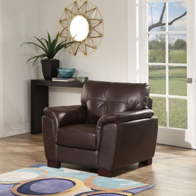 Belize Two-Tone Leather Armchair Brown - Abbyson Living : Target