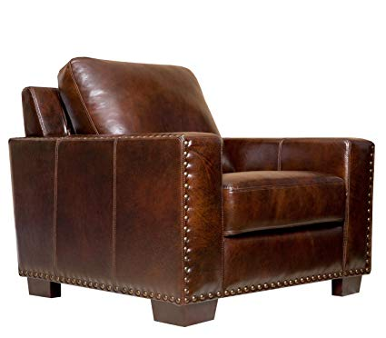 Abbyson Beverly Hand Rubbed Leather Armchair, Brown