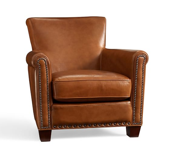 Irving Roll Arm Leather Armchair with Nailheads