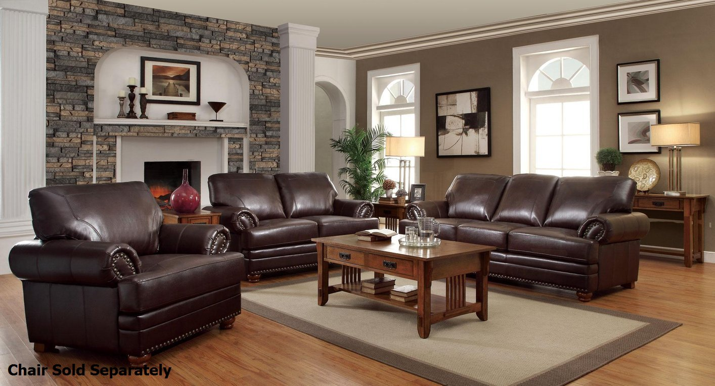 Colton Brown Leather Sofa and Loveseat Set - Steal-A-Sofa Furniture Outlet  Los Angeles CA