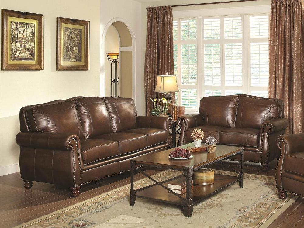 Details about SONOMA - Traditional Living Room Furniture Brown Leather Sofa  Couch Loveseat Set
