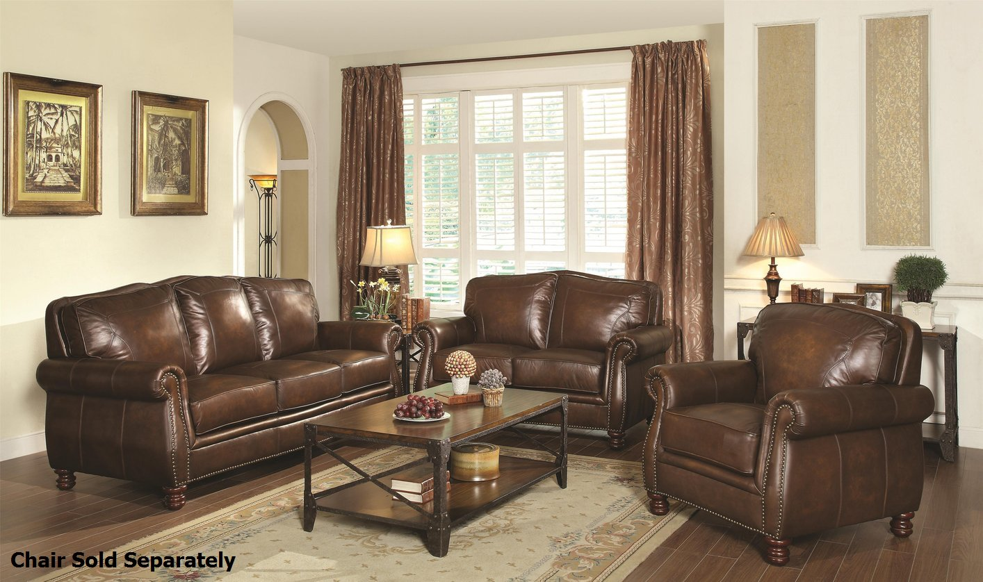 Montbrook Brown Leather Sofa and Loveseat Set - Steal-A-Sofa Furniture  Outlet Los Angeles CA
