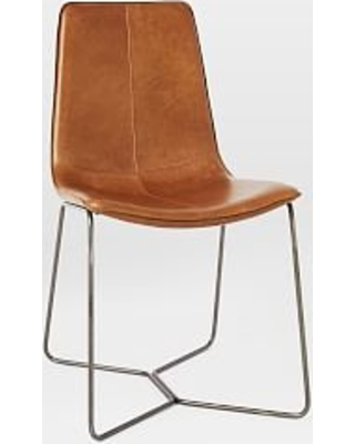 Leather Slope Dining Chair, Saddle
