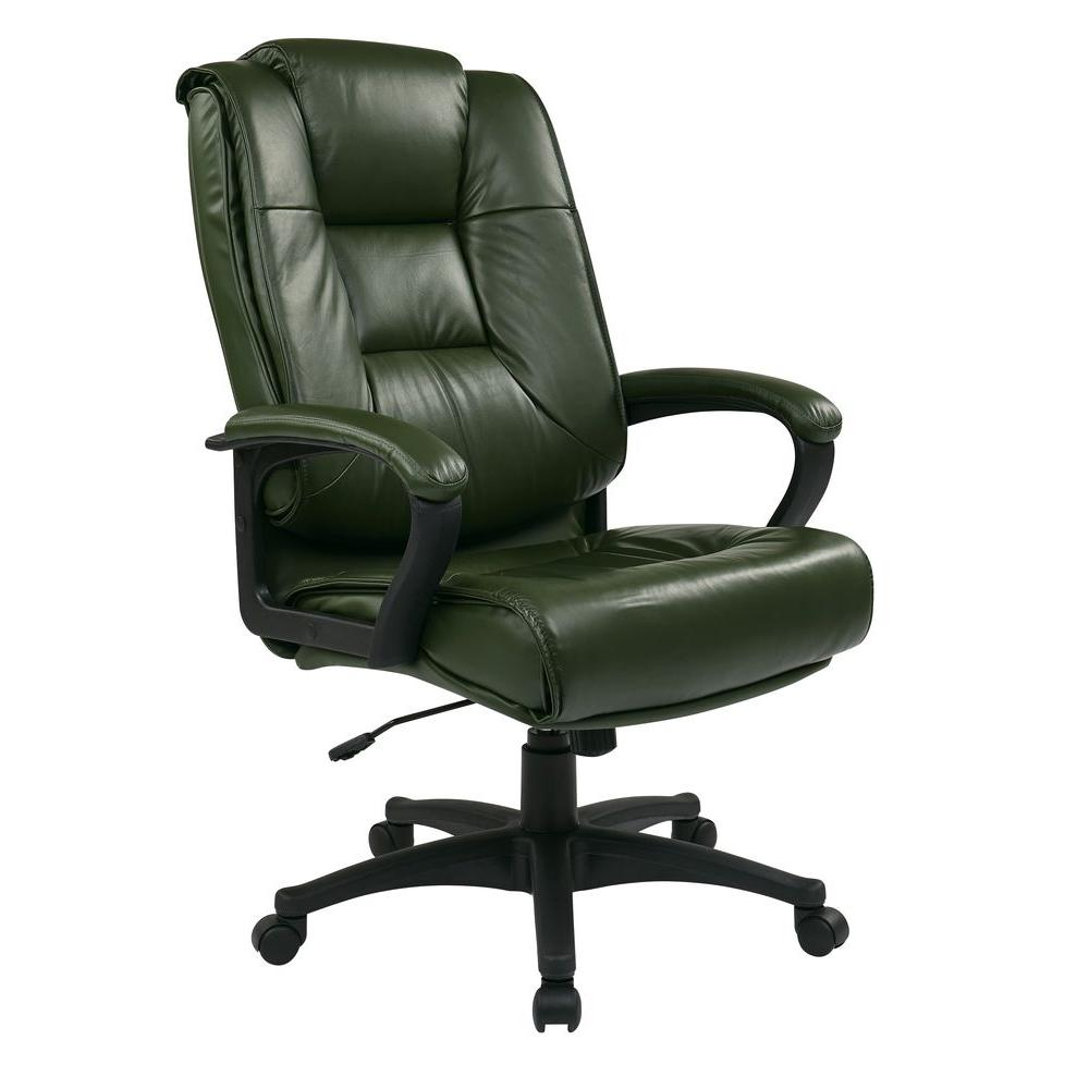 Work Smart Green Leather Executive Office Chair-EX5162-G16 - The Home Depot