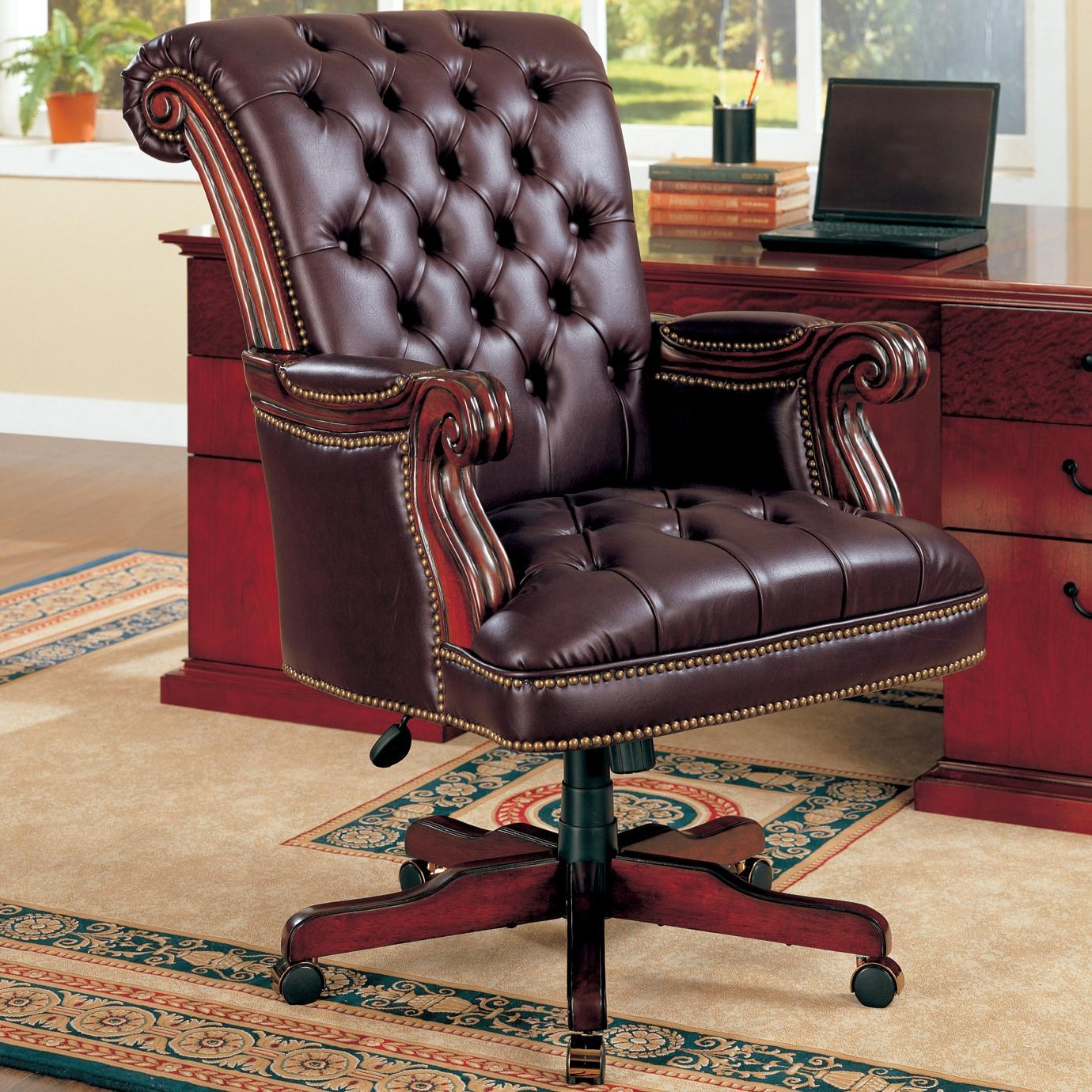 Office Chairs Traditional Leather Executive Chair by Coaster