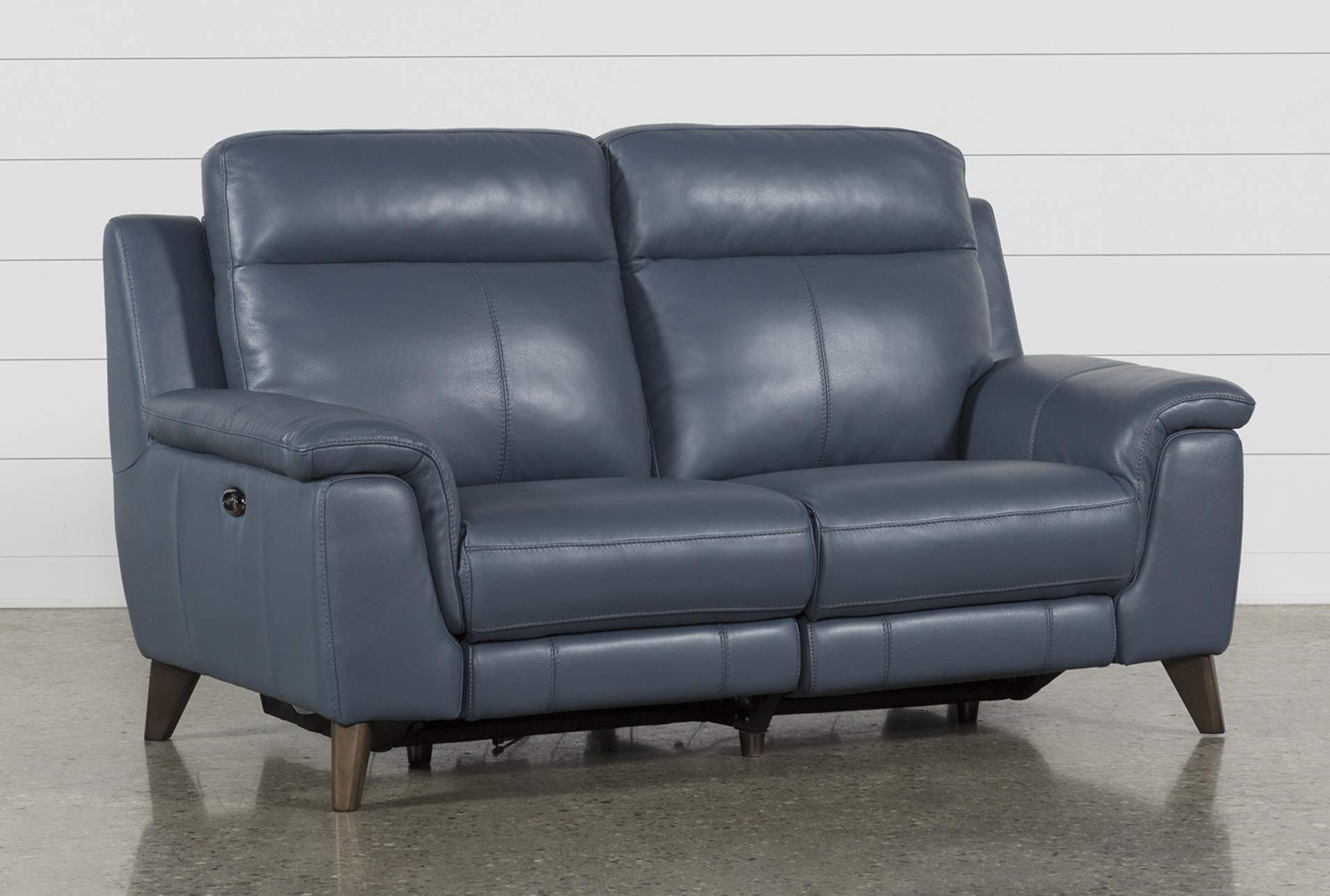 Moana Blue Leather Dual Power Reclining Loveseat With Usb   Living Spaces