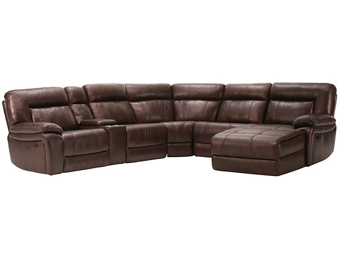 Arlo 6 Piece Reclining Leather Sectional, , large