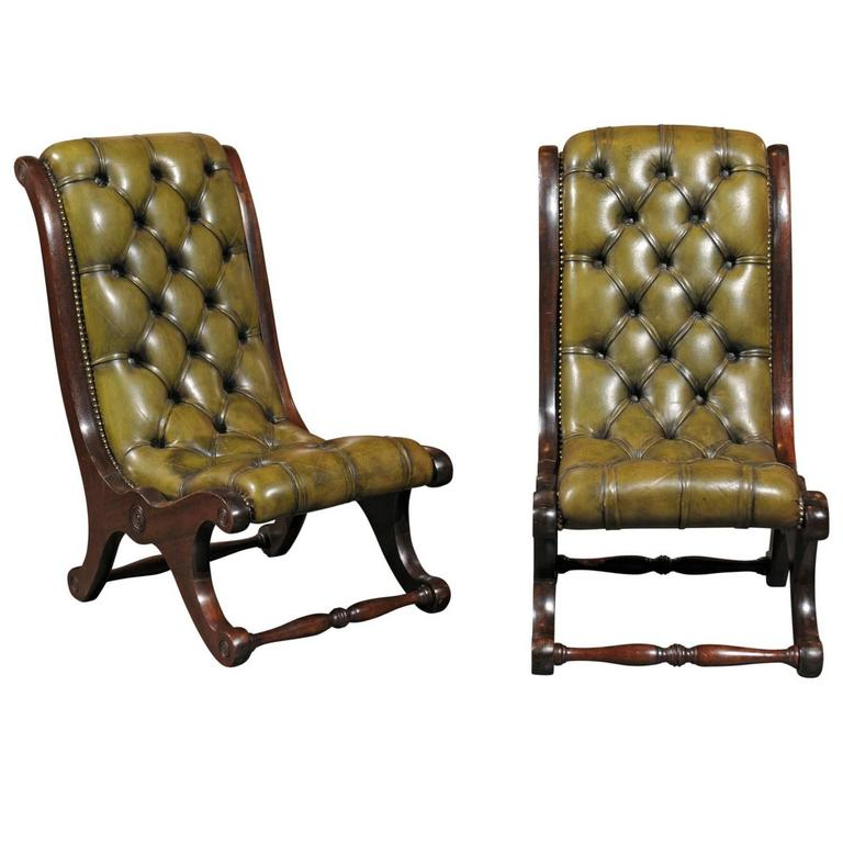 Pair of English Green Leather Turn of the Century Tufted Slipper Chairs For  Sale at 1stdibs
