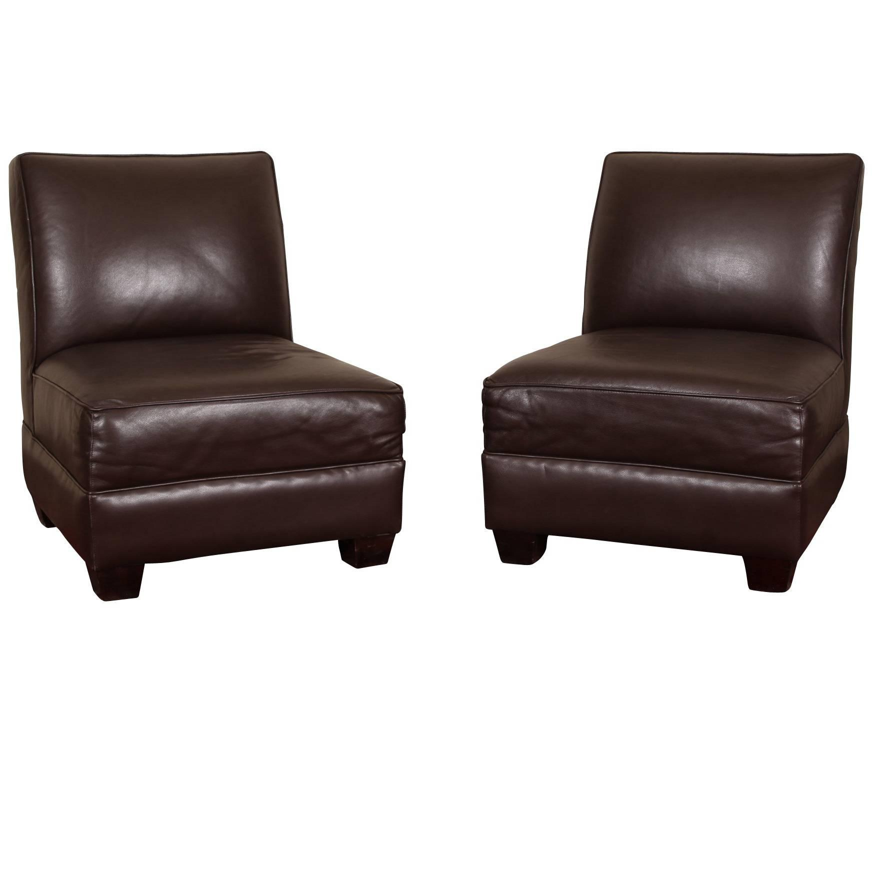 Pair of Chocolate Brown Leather Slipper Chairs For Sale