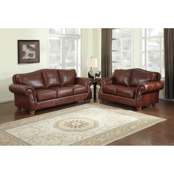 Shop Brandon Distressed Whiskey Italian Leather Sofa and Loveseat