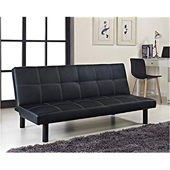 Comfy Living Single Faux Leather Sofa Bed in Black - Spencer Sofabed