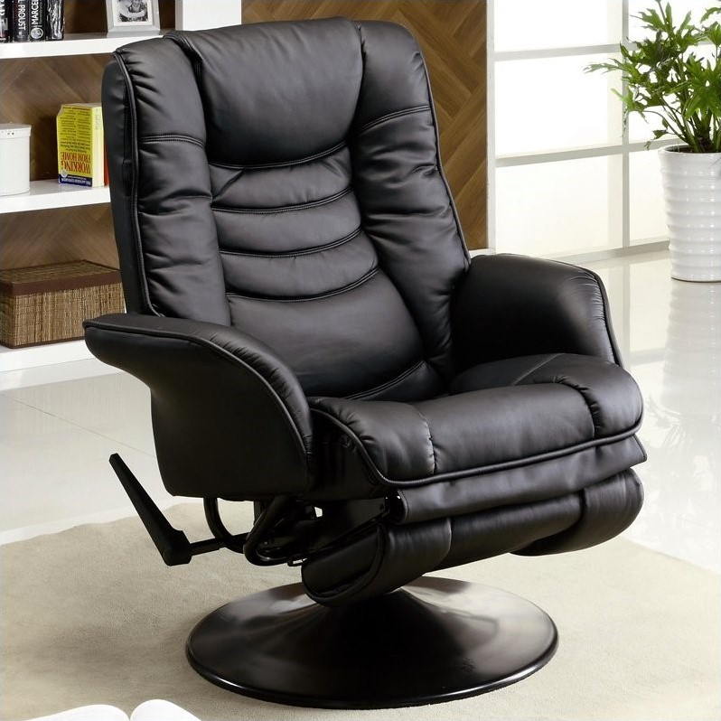 Coaster Faux Leather Recliners Casual Swivel Recliner Chair in Black -  600229