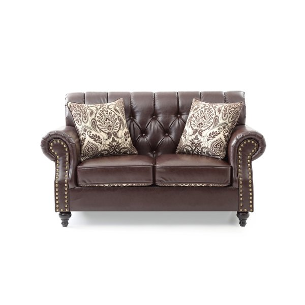 LYKE Home Faux Leather Tufted Loveseat