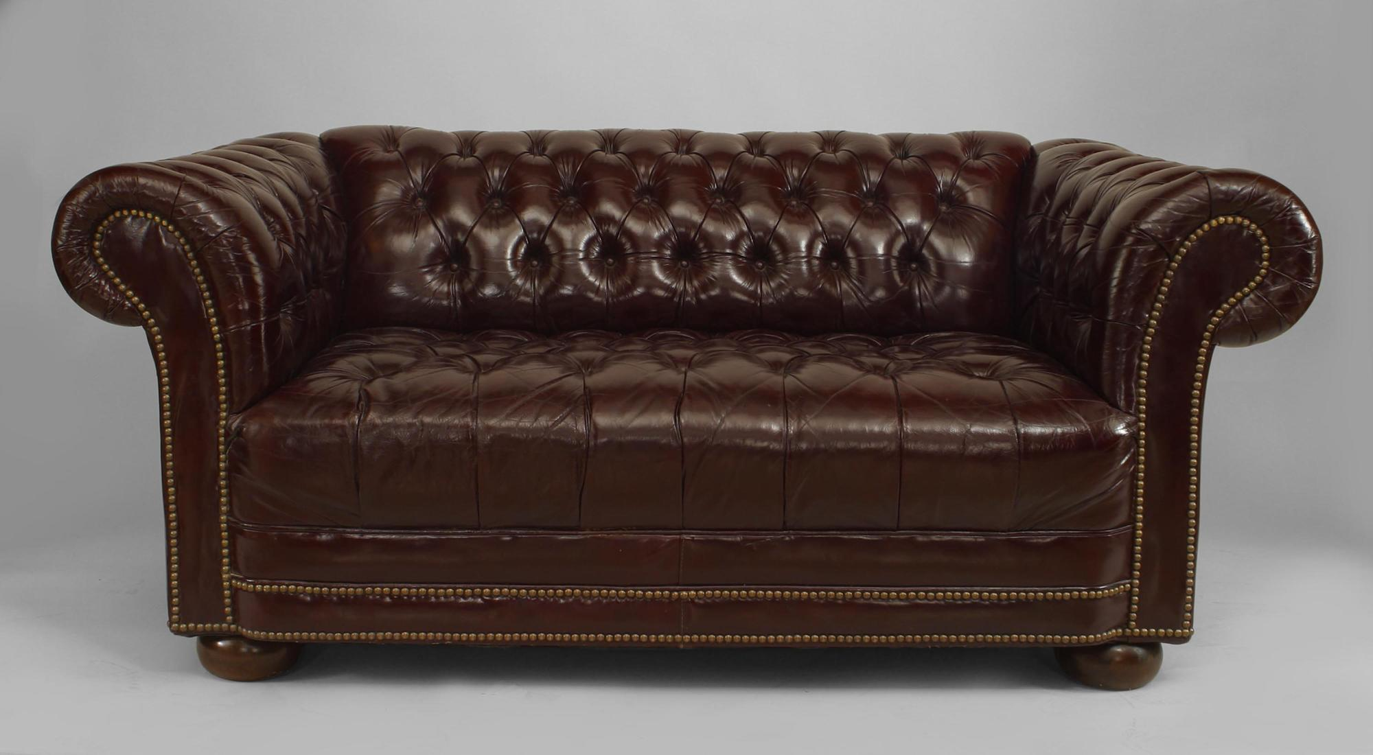 couch, Loveseat Tufted Brown Leather Rectangular Shape Of Modern Design Her  Feet Brown Round Wood