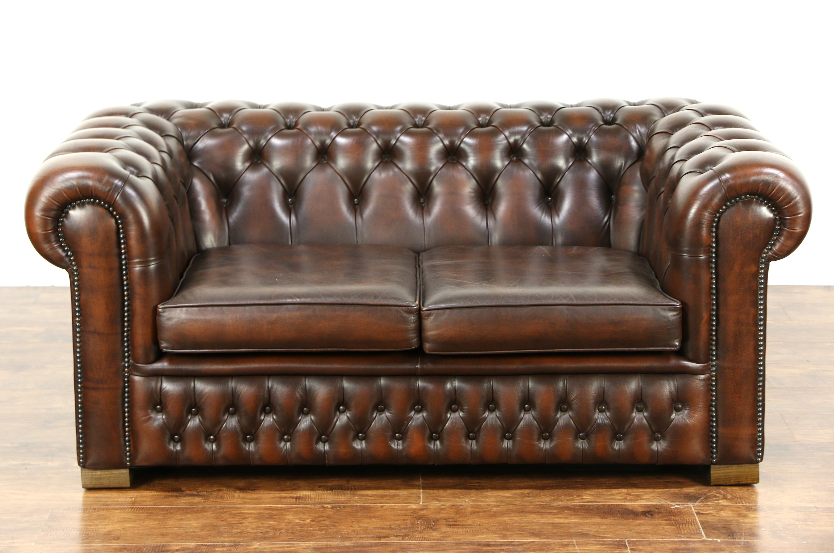 SOLD - Chesterfield Tufted Brown Leather Vintage Scandinavian Loveseat -  Harp Gallery