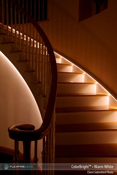 Beautiful indirect stair lighting using LED strip lights! It's both
