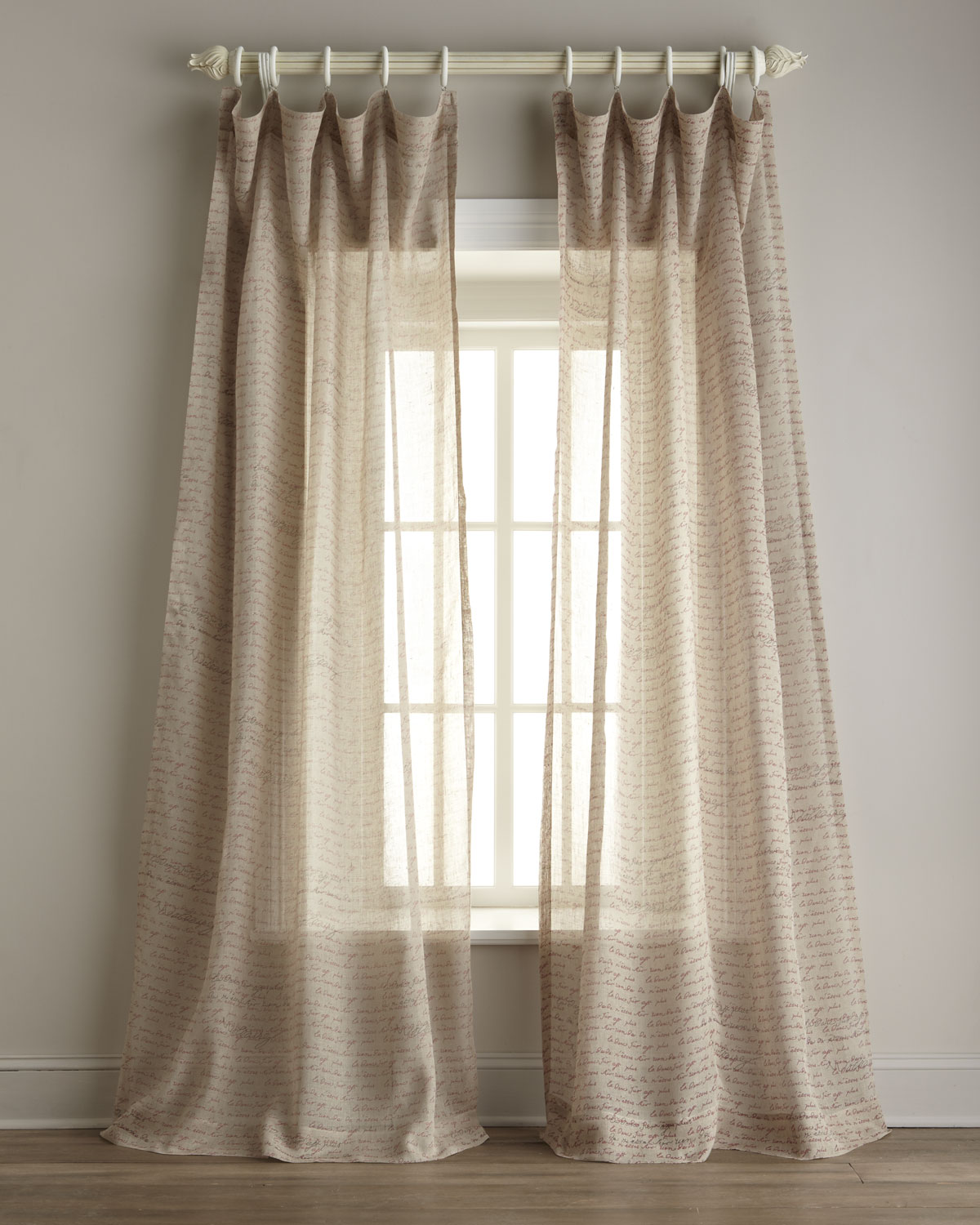 Image of: India s Heritage Inc Script Print Sheer Linen Curtains